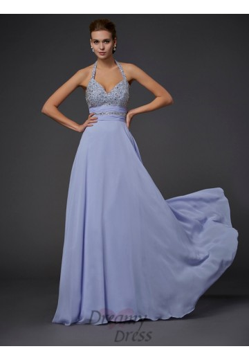 A-Line/Princess Halter Floor-Length Chiffon Dress