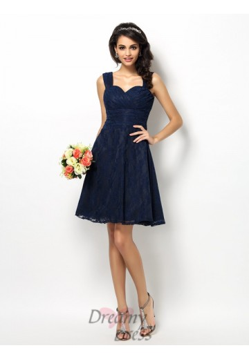 A-Line/Princess Short/Mini Satin Bridesmaid Dress