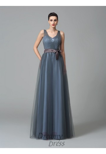A-line Straps Sash/Ribbon/Belt Floor-Length Net Bridesmaid Dress