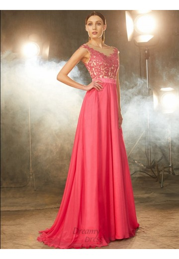 A-Line Sheer Neck Sweep/Brush Train Chiffon Dress with Applique