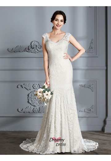 Trumpet/Mermaid V-Neck Lace Sweep/Brush Train Wedding Dress