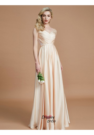 A-Line/Princess V-neck Ruched Floor-Length Satin Chiffon Bridesmaid Dress