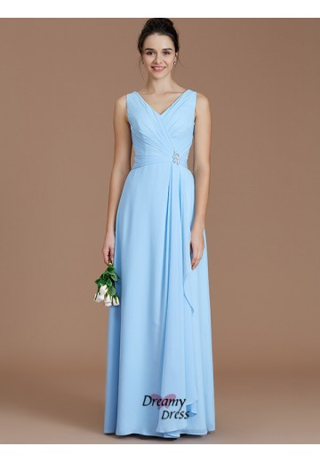 A-Line/Princess V-neck Ruched Floor-Length Chiffon Bridesmaid Dress