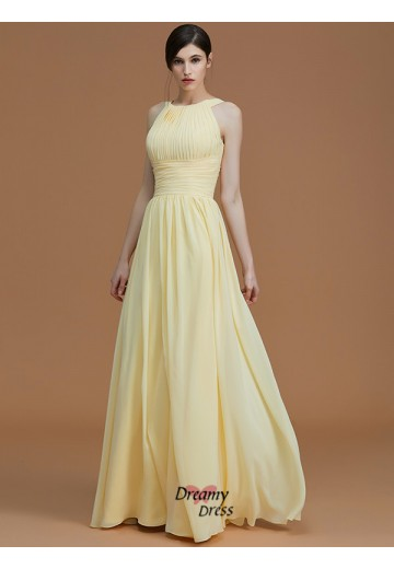 A-Line/Princess Halter Floor-Length Ruched Chiffon Bridesmaid Dress