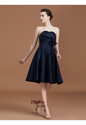 A-Line Sweetheart Knee-Length Satin Bridesmaid Dress