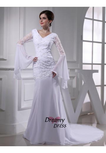 Mermaid V-neck Chiffon Long Wedding Dress