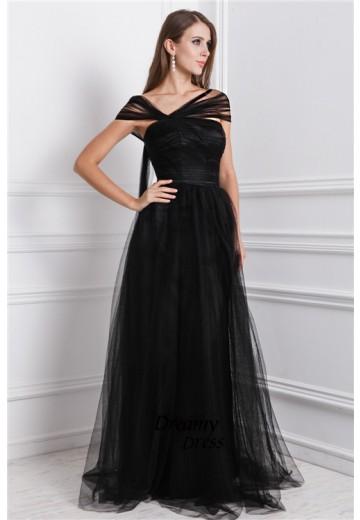 A-Line Bateau Long Net Dress