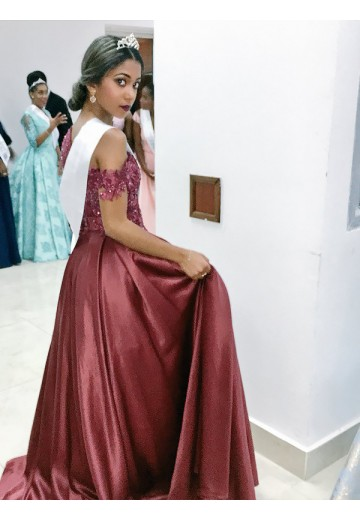 A-Line/Princess Off-the-Shoulder Satin Floor-Length Dress