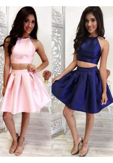 A-Line Halter Satin Short Two Piece Dress