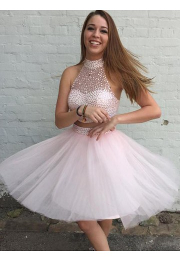 A-Line Tulle High Neck Short Two Piece Dress