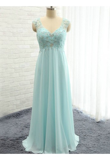 A-Line Sweetheart Long Beading Chiffon Bridesmaid Dress