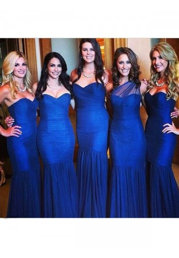 Mermaid Sweetheart Long Ruched Tulle Bridesmaid Dress