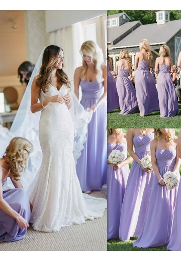 A-Line Chiffon Floor-Length Sweetheart Bridesmaid Dress