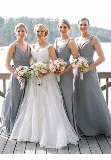 A-Line V-neck Long Chiffon Bridesmaid Dress