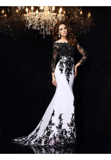 Long Sleeves Scoop Lace Chiffon Sweep/Brush Train Dress
