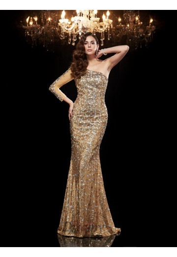 Mermaid One-Shoulder 3/4 Sleeves Sequins Long Dress