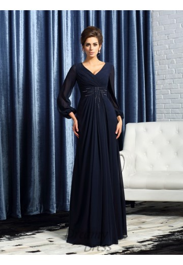 V-neck Long Sleeves Chiffon Floor-Length Mother of the Bride Dress