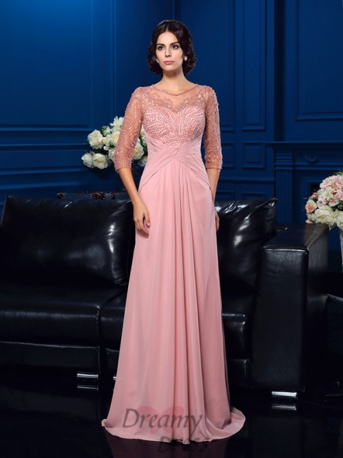 3/4 Sleeves Sweep/Brush Train Chiffon Mother Of The Bride Dress