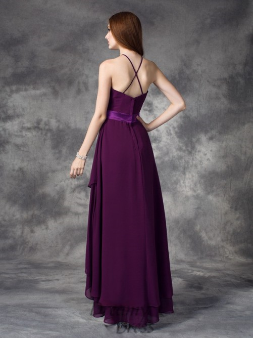 A-line Halter Ruffles Asymmetrical Chiffon Bridesmaid Dress