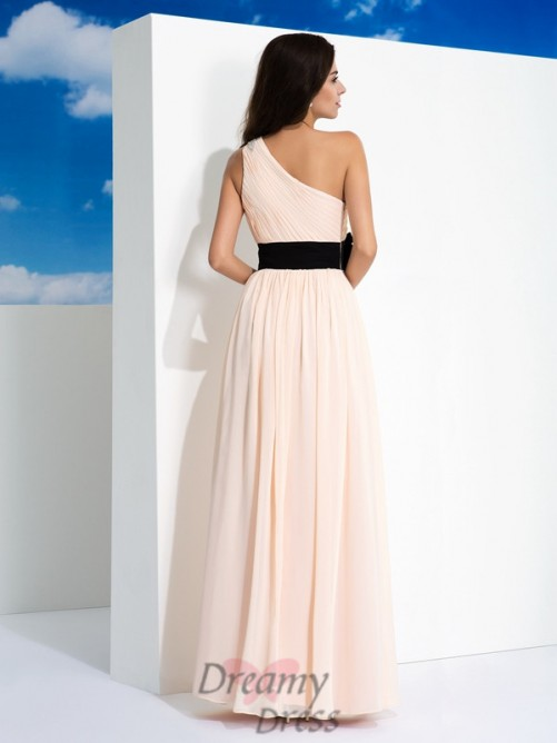 A-line One-Shoulder Sash/Ribbon/Belt Chiffon Long Dress