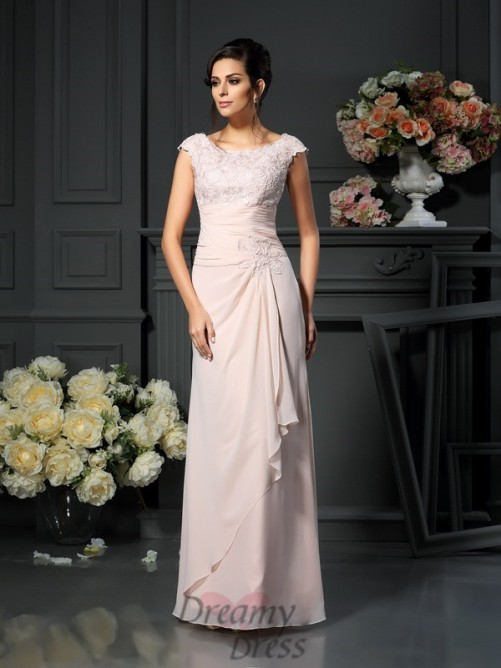 A-Line/Princess Scoop Floor-Length Lace Chiffon Mother of the Bride Dress