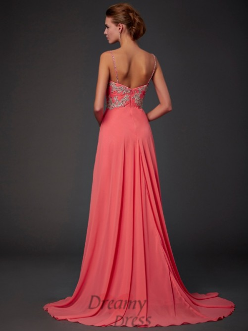 A-Line/Princess Scoop Organza Open Back Sweep/Brush Train Lace Dress