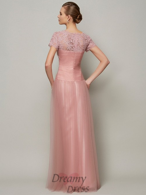 A-Line/Princess Short Sleeves Sweetheart Floor-Length Satin Dress