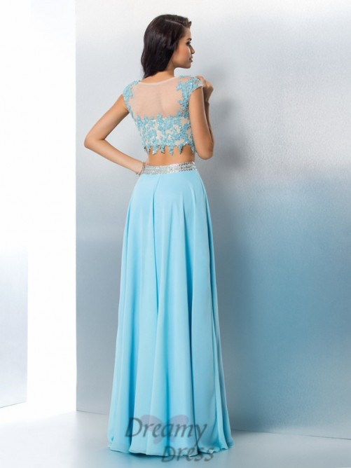 A-line Short Sleeves Chiffon Floor-Length Two Piece Dress