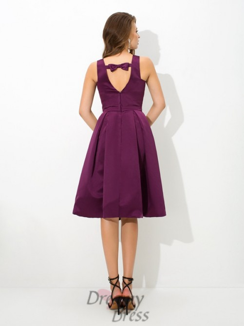 A-line Square Knee-Length Satin Bridesmaid Dress