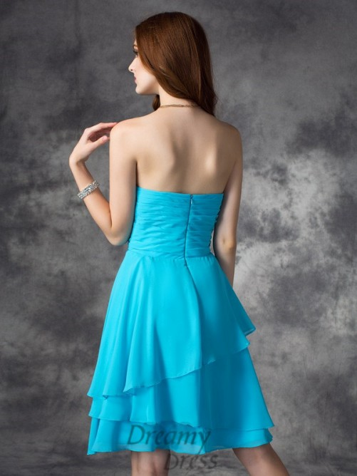 A-line Strapless Ruffles Short Chiffon Bridesmaid Dress