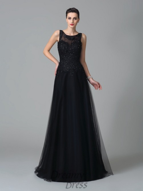 A-line Straps Sweep/Brush Train Net Mother of the Bride Dress
