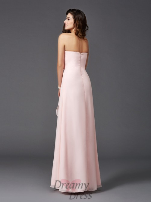 A-line Sweetheart Hand-Made Flower Floor-Length Chiffon Bridesmaid Dress