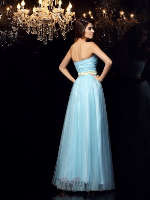 Ball Gown Strapless Satin Floor-Length Dress