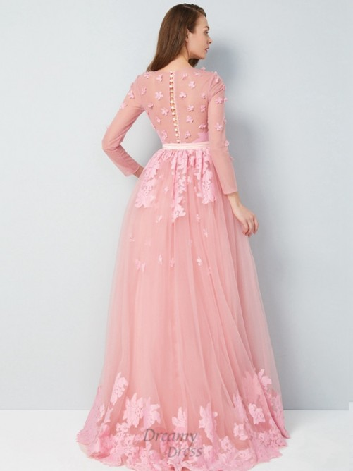 A-Line Scoop Floor-Length Tulle Dress with Applique