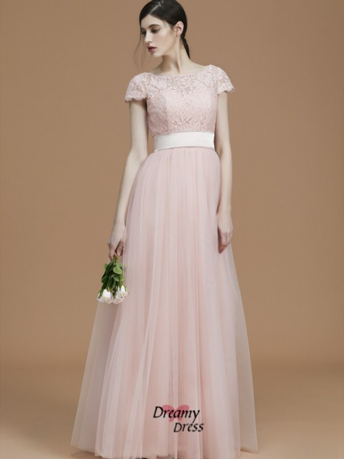 A-Line/Princess Bateau Floor-Length Sash/Ribbon/Belt Tulle Bridesmaid Dress