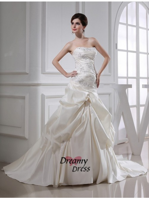 Mermaid Long Satin Strapless Wedding Dress