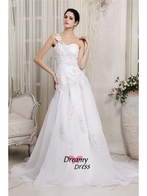 A-Line One-Shoulder Long Organza Wedding Dress