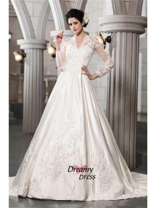 A-Line Long Sleeves Long Satin Wedding Dress