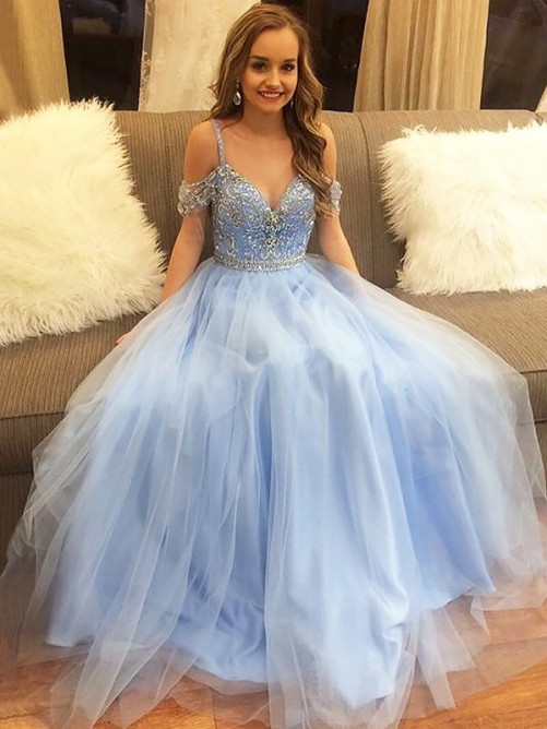 A-Line Off-the-Shoulder Floor-Length Tulle Sleeveless Dress