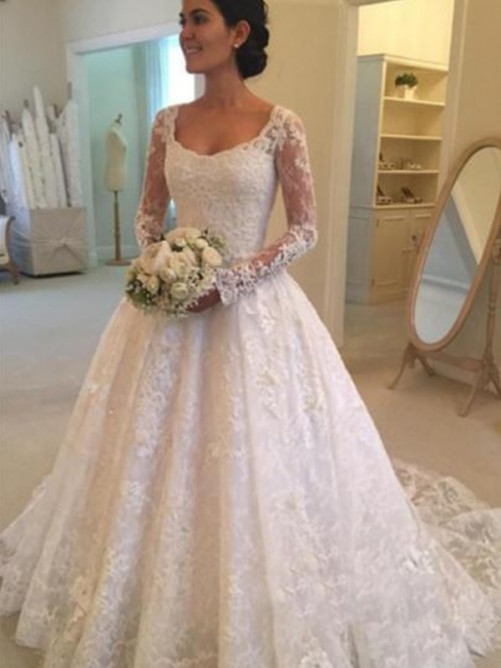 Ball Gown Scoop Cathedral Train Lace Wedding Dress