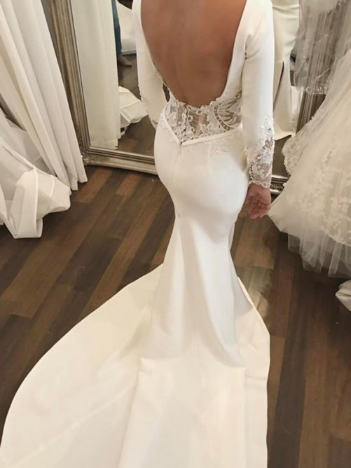 Mermaid Scoop Court Train Lace Satin Wedding Dress