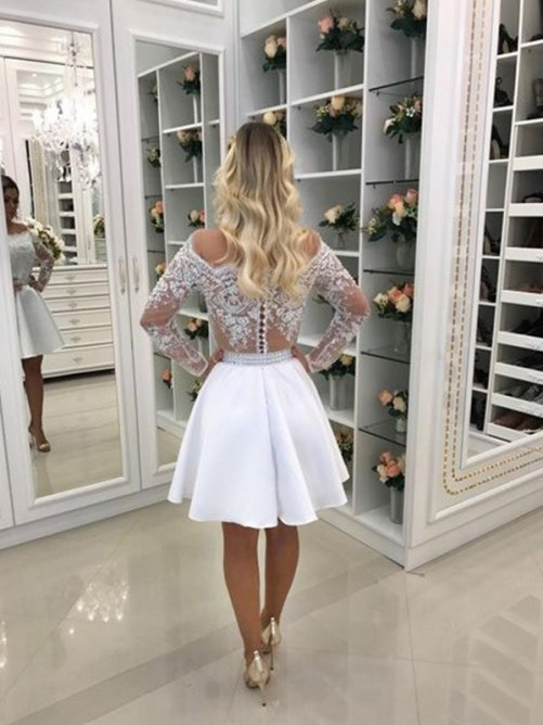 A-Line Off-the-Shoulder Chiffon Short Dress