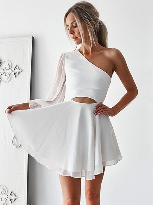 A-Line Chiffon One-Shoulder Short Dress