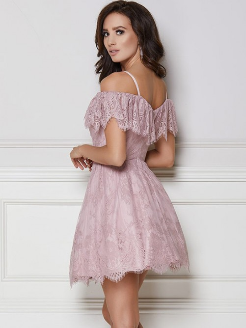 A-Line Lace Off-the-Shoulder Short Dress