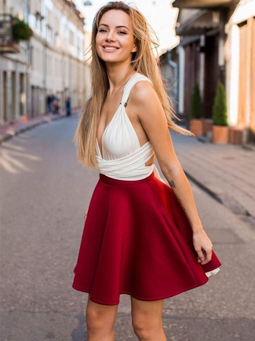 A-Line V-neck Satin Short Dress