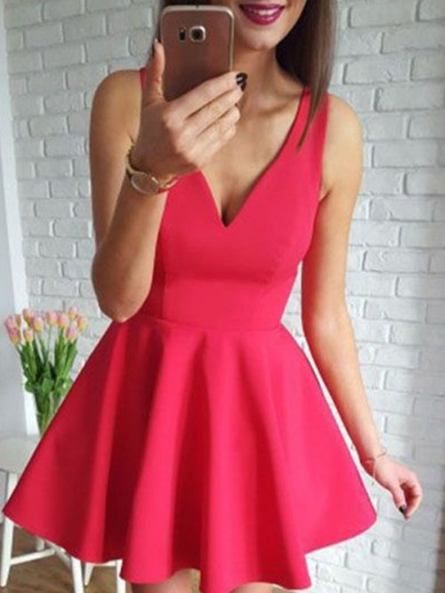 A-Line Satin V-neck Short Dress