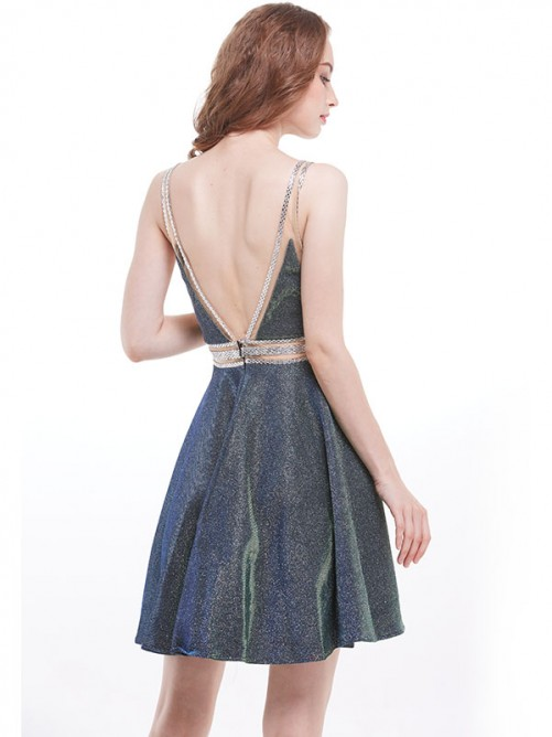 A-Line V-neck Sequins Short Dress