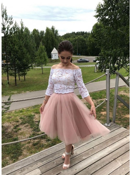 A-Line Tulle Lace Off-the-Shoulder Tea-Length Dress