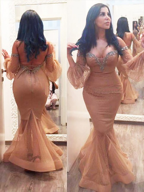 Mermaid Off-the-shoulder Beading Long Plus Size Dress