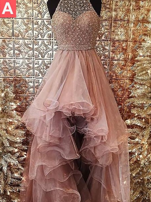 Ball Gown Halter Asymmetrical Sweep/Brush Train Tulle Dress